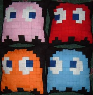 Pacman Ghost Pillows Front